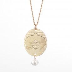שרשרת גולדפילד ארוכה תליון פרח סחלב עם אבן חן קריסטל קוורץ